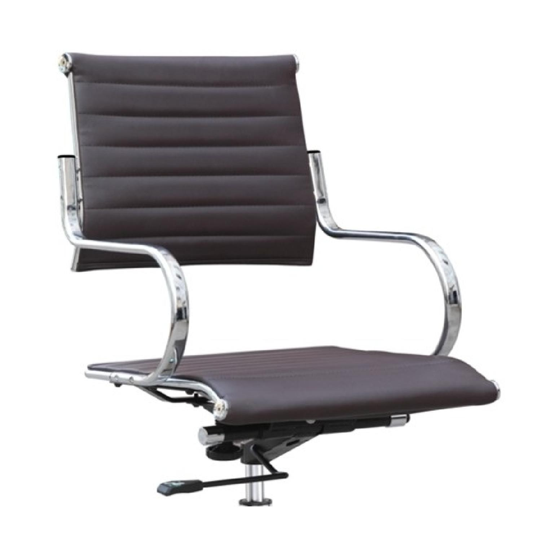 Modern Mid Back Office Chair w/ Stainless Steel Frame & Dark - image-2