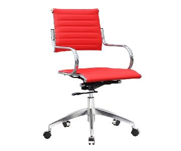 Modern Mid Back Office Chair w/ Stainless Steel Frame & Red Faux Leather