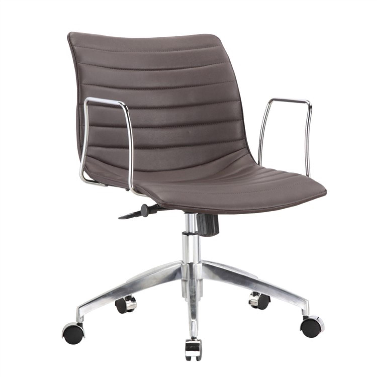 Modern Mid-Back Office Chair w/ Chrome Arms & Dark Brown Lea - image-0