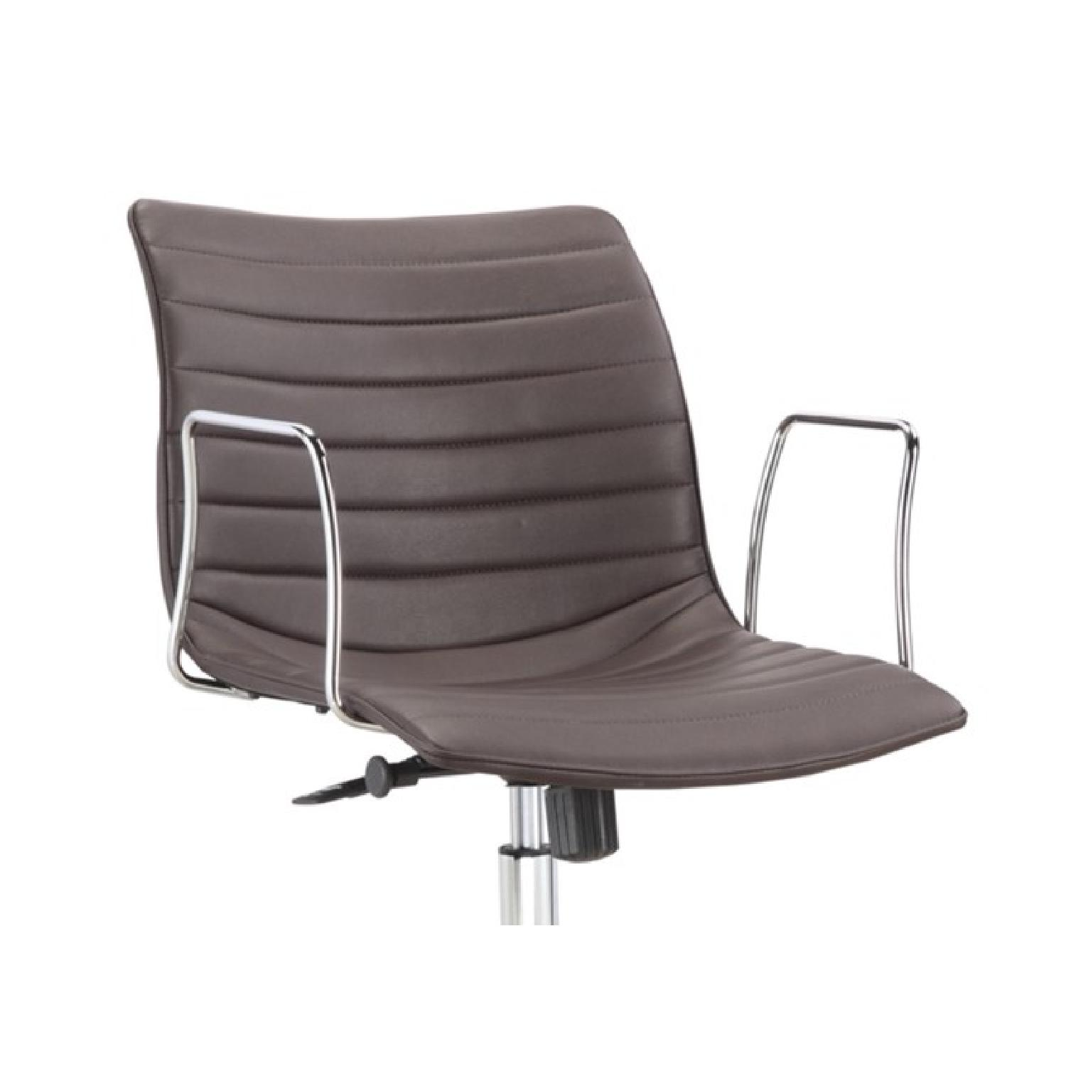 Modern Mid-Back Office Chair w/ Chrome Arms & Dark Brown Lea - image-1