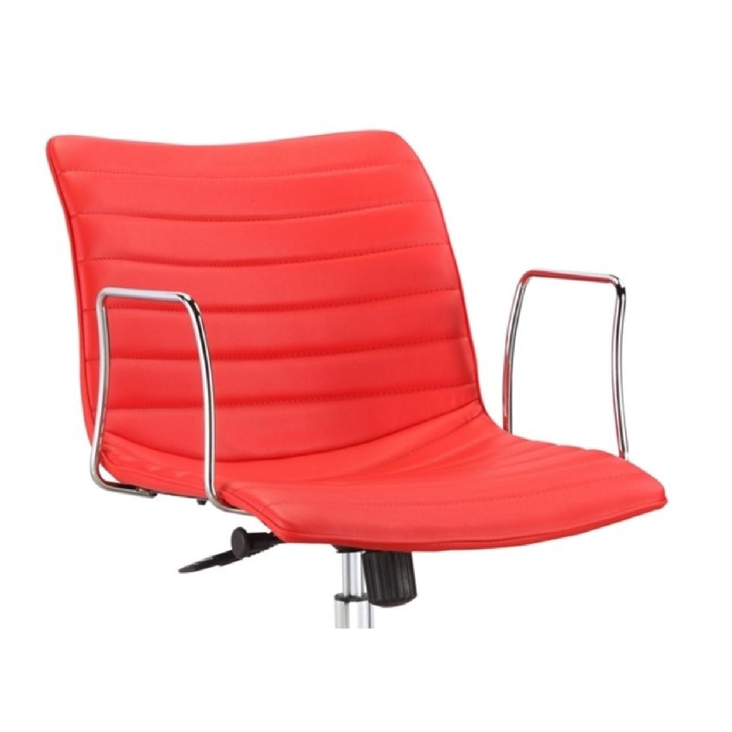 Modern Mid-Back Office Chair w/ Chrome Arms & Red Leatherett - image-1
