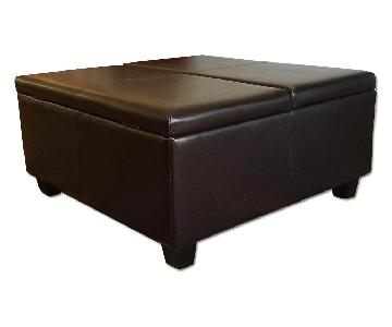 Raymour & Flanigan Dianne Leather Storage Ottoman