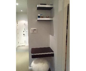Hanging Desk & Shelves w/ Silver Trim