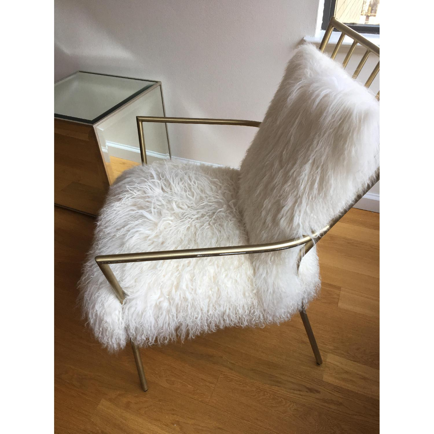 Mitchell Gold + Bob Williams Brass & Tibetan Fur Ansel Chair - image-2