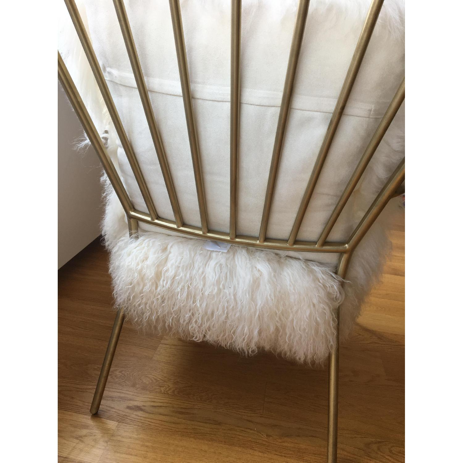 Mitchell Gold + Bob Williams Brass & Tibetan Fur Ansel Chair - image-4