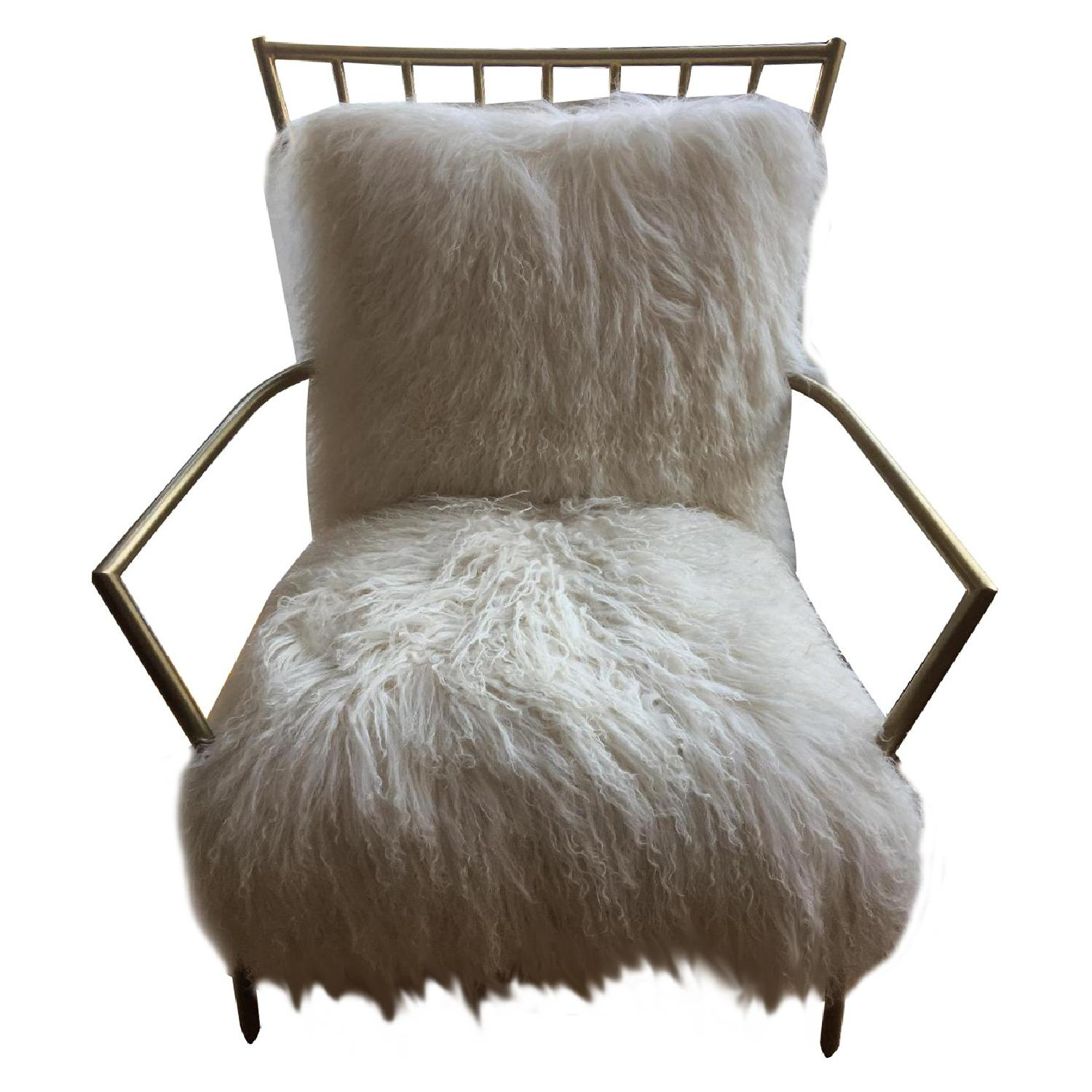 Mitchell Gold + Bob Williams Brass & Tibetan Fur Ansel Chair - image-0