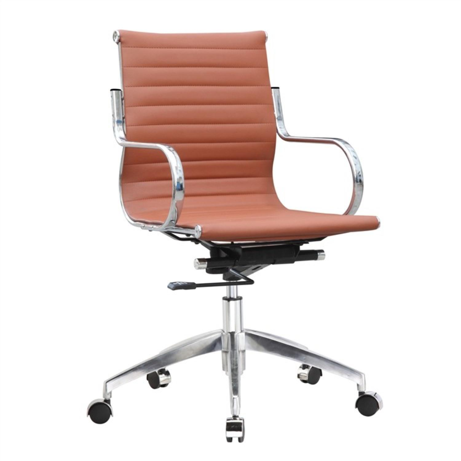 Modern Mid-Back Office Chair in Light Brown Leatherette w/ S