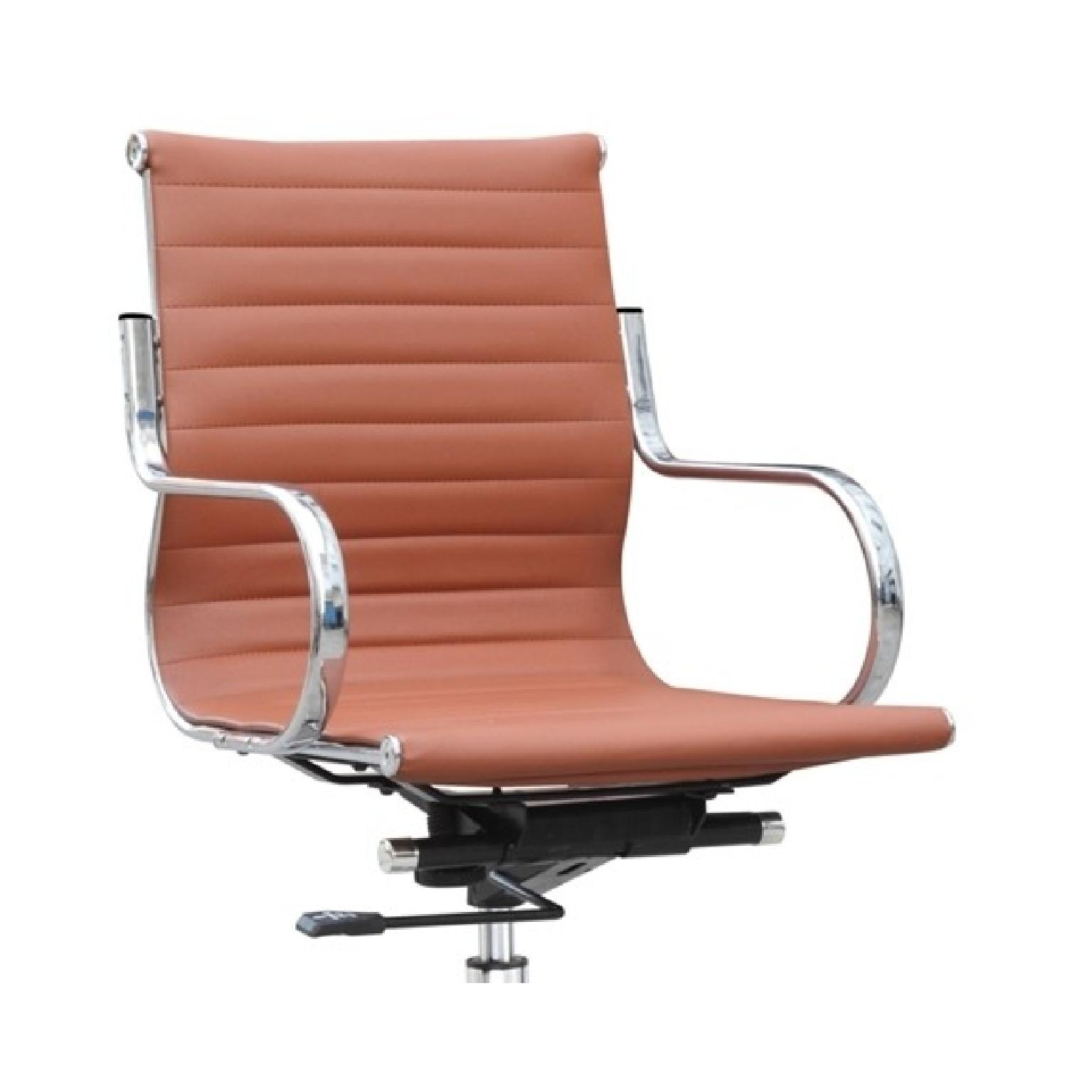 Modern Mid-Back Office Chair in Light Brown Leatherette w/ S-0