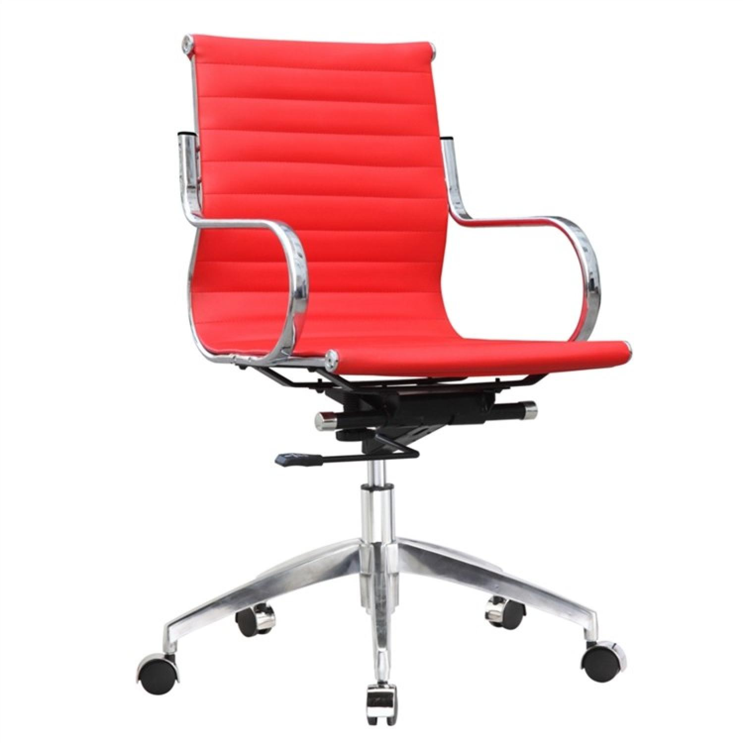 Modern Mid-Back Office Chair in Red Leatherette w/ Steel Fra