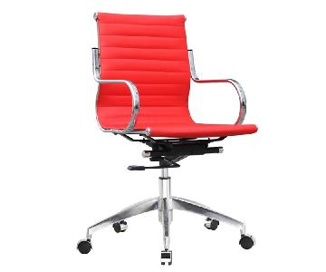 Modern Mid-Back Office Chair in Red Leatherette w/ Steel Frame & Tilt Lock & Removable Arms