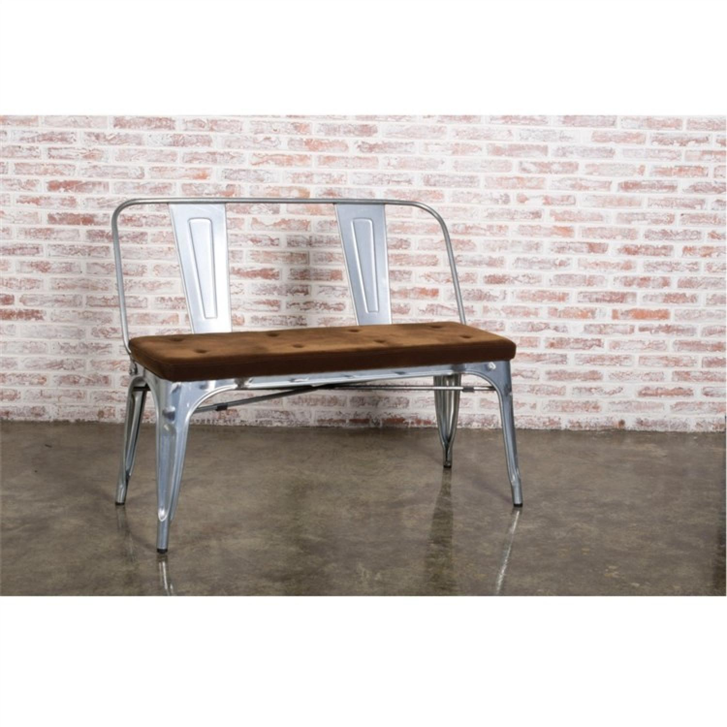 Double Seat Bench In Galvanized Metal Frame w/ Brown Fabric Cushion - image-1