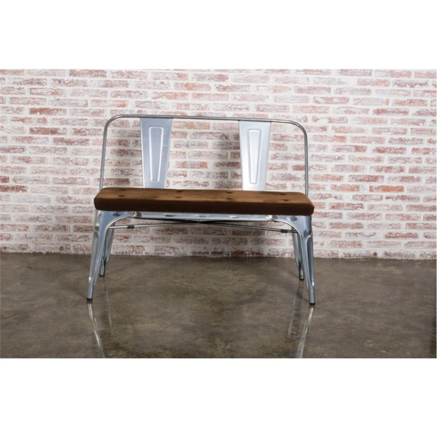 Double Seat Bench In Galvanized Metal Frame w/ Brown Fabric Cushion - image-2