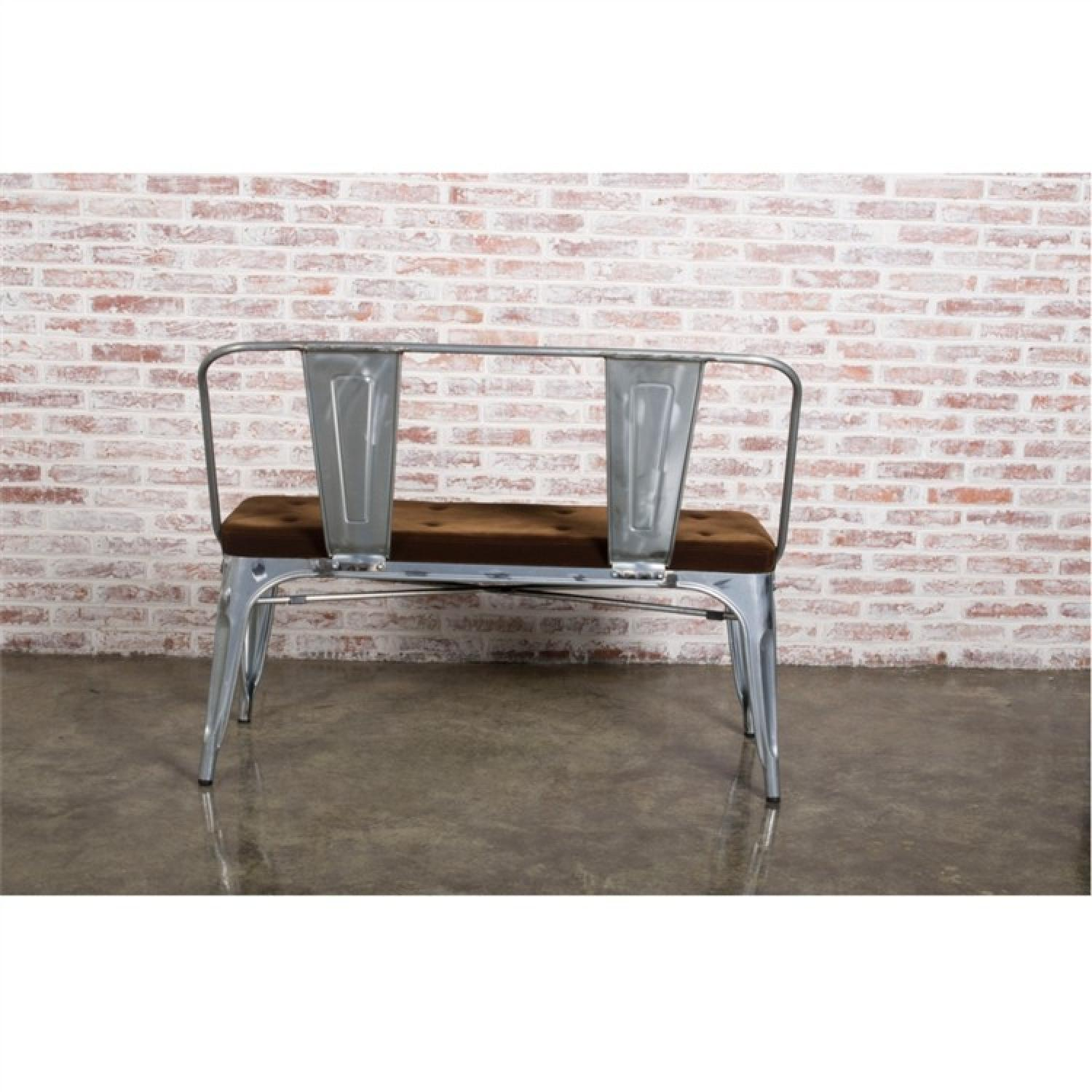 Double Seat Bench In Galvanized Metal Frame w/ Brown Fabric Cushion - image-3