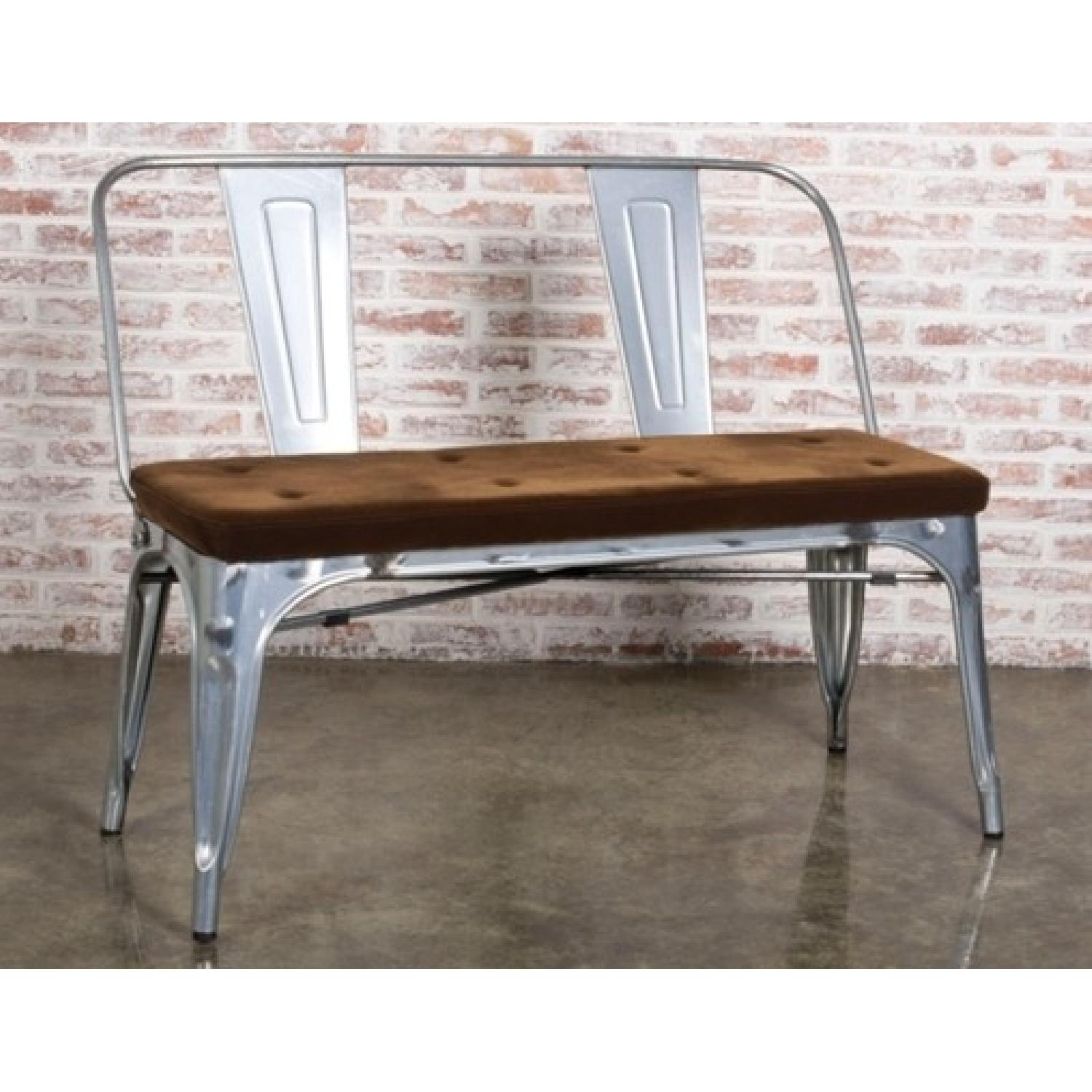 Double Seat Bench In Galvanized Metal Frame w/ Brown Fabric Cushion - image-4