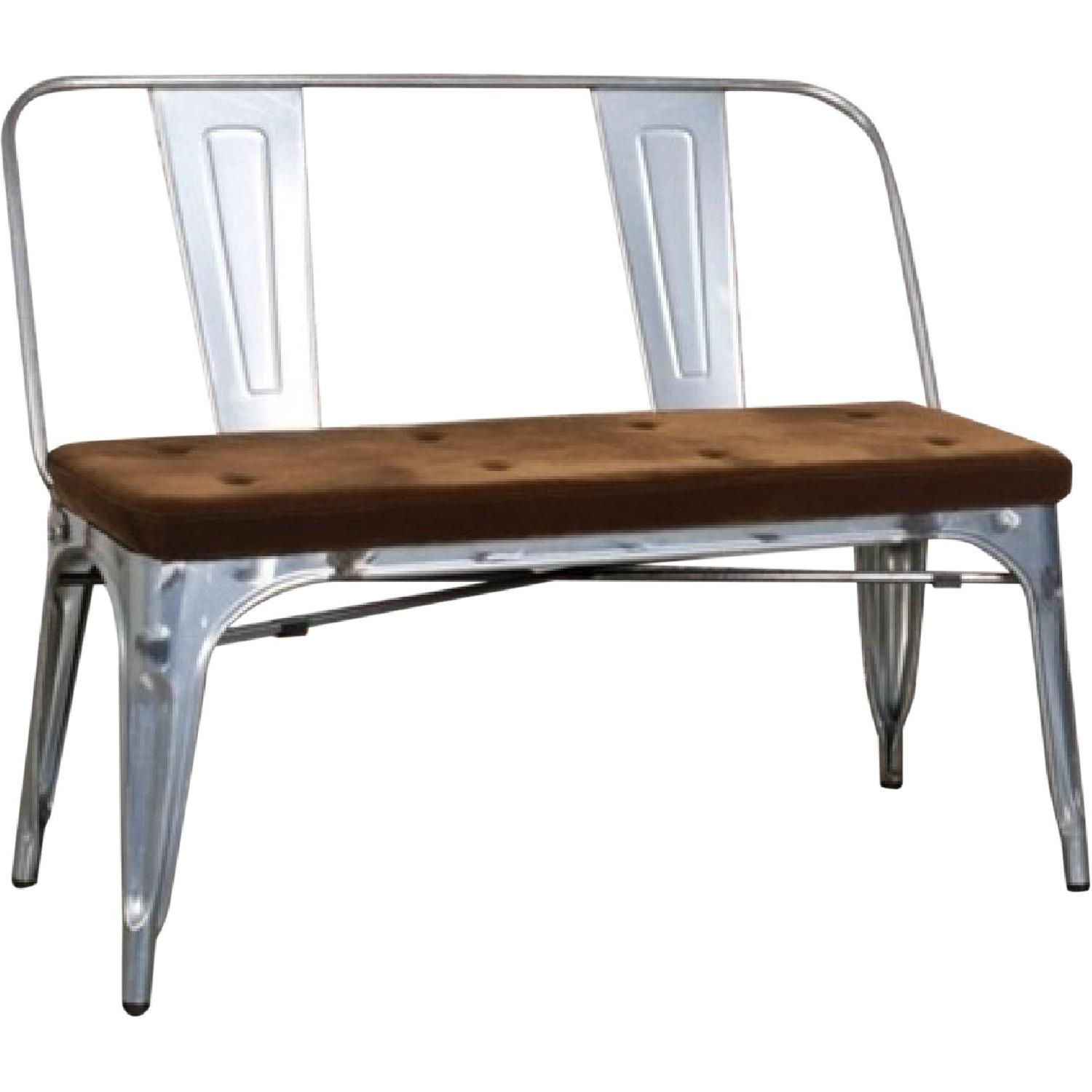 Double Seat Bench In Galvanized Metal Frame w/ Brown Fabric Cushion - image-0