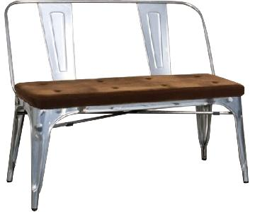 Double Seat Bench In Galvanized Metal Frame w/ Brown Fabric