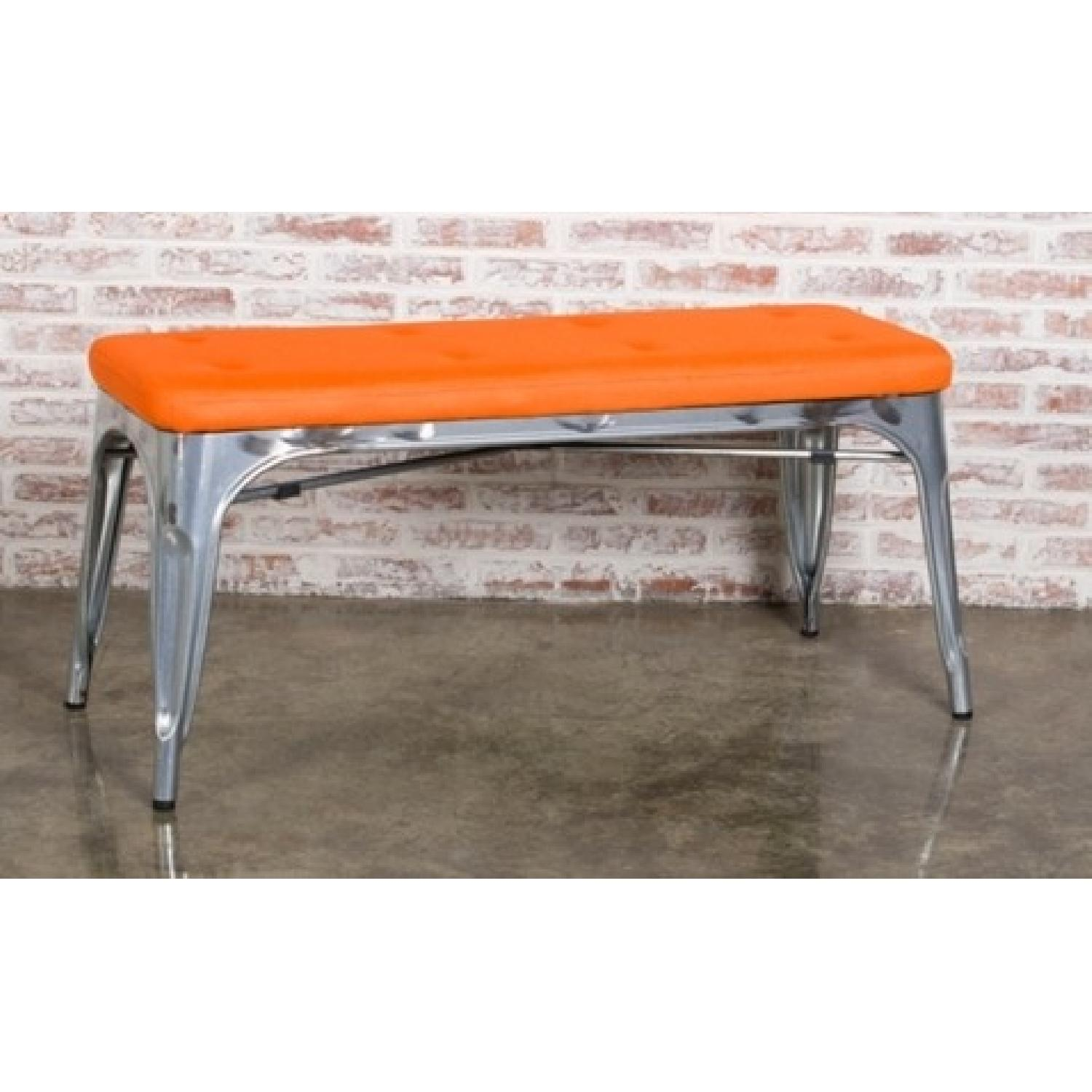 Bench in Galvanized Steel w/ Orange Mesh Cushion - image-1