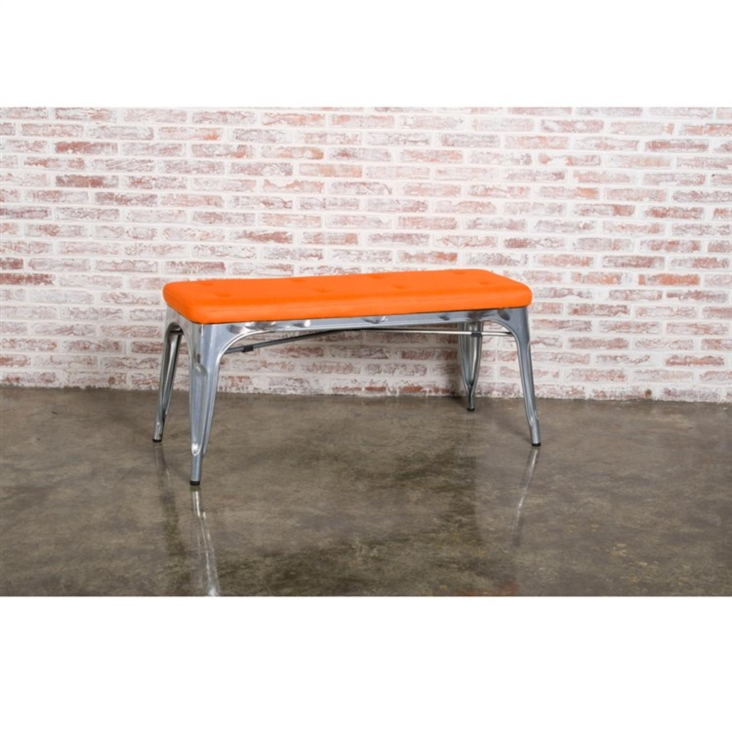 Bench in Galvanized Steel w/ Orange Mesh Cushion - image-2