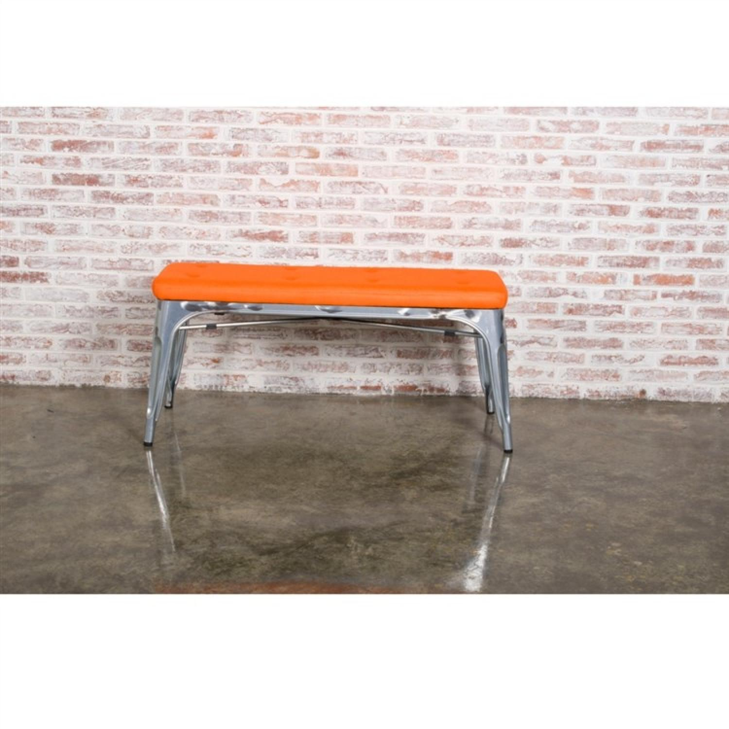 Bench in Galvanized Steel w/ Orange Mesh Cushion - image-3