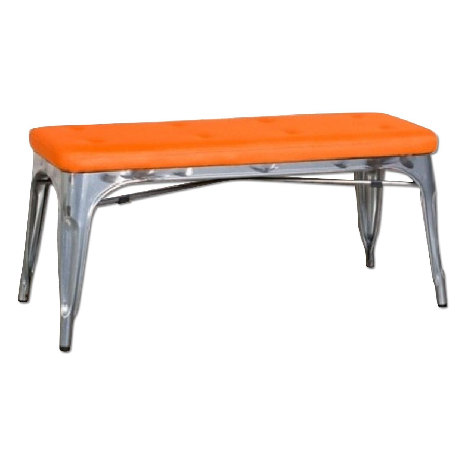 Bench in Galvanized Steel w/ Orange Mesh Cushion - image-0