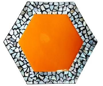 Orange Display Decorative Hexagon Lacquer Plate w/ Seashell