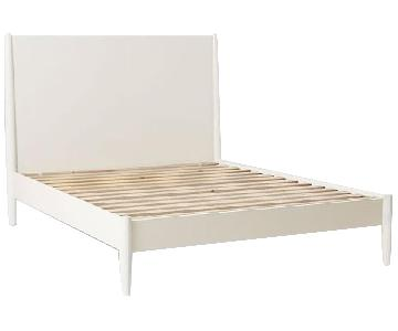 West Elm Mid-Century White Bed Frame