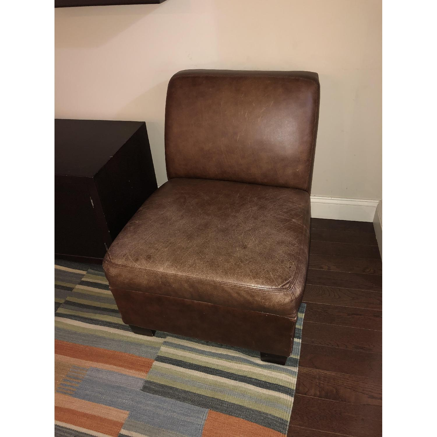 Pottery Barn Leather Club Chair-4
