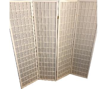 Magshion Shoji Screen Oriental White 4-Panel Screen Divider