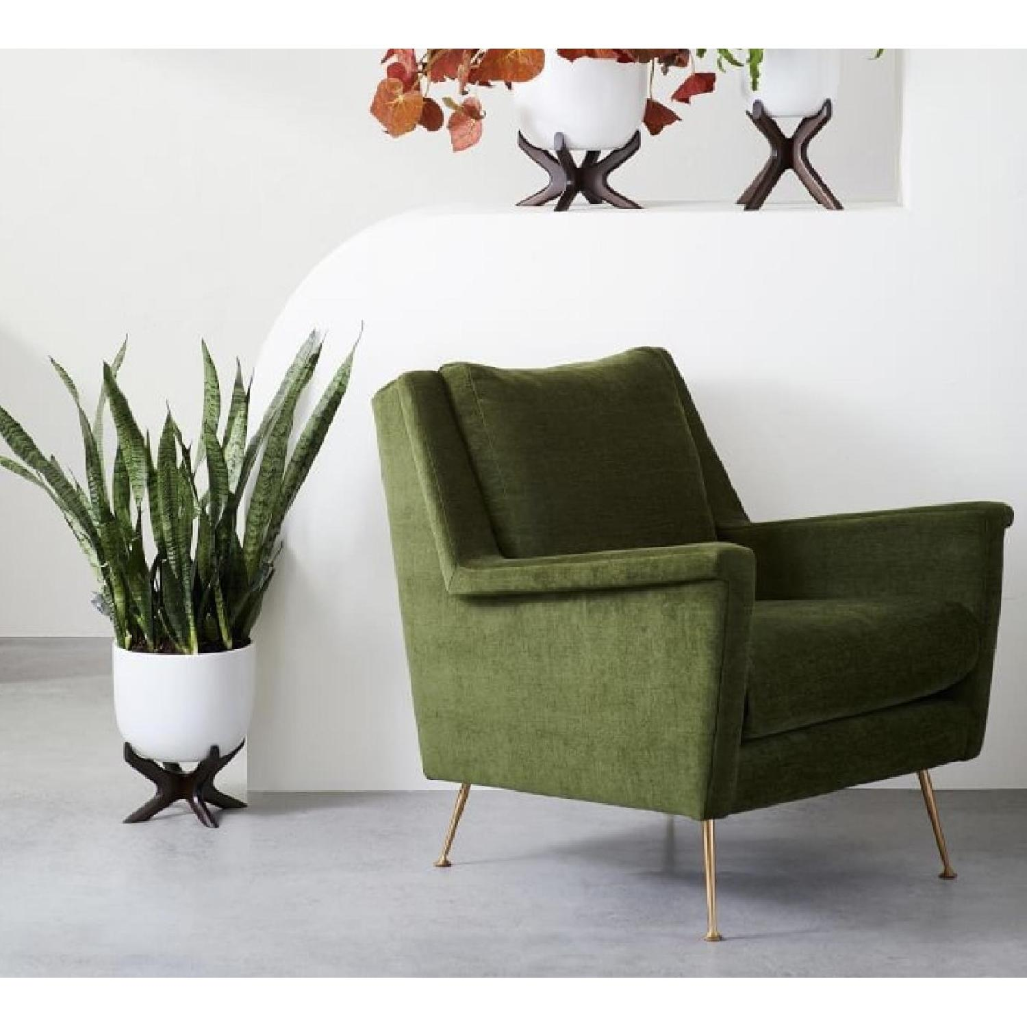 West Elm Carlo Mid-Century Chair in Distressed Velvet-1