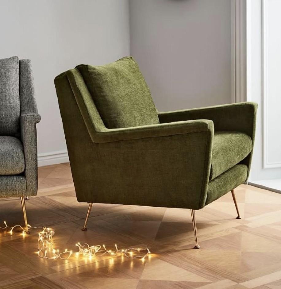 West Elm Carlo Mid-Century Chair in Distressed Velvet