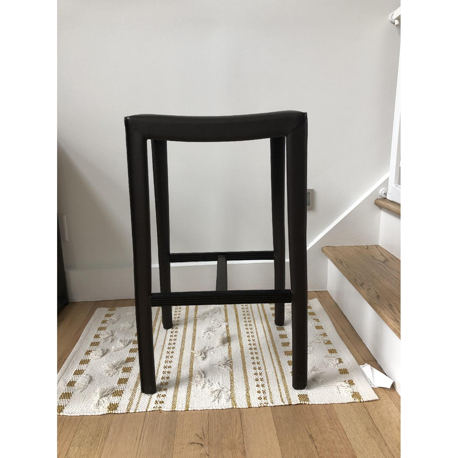Crate & Barrel Folio Saddle Top-Grain Leather Bar Stools - image-1