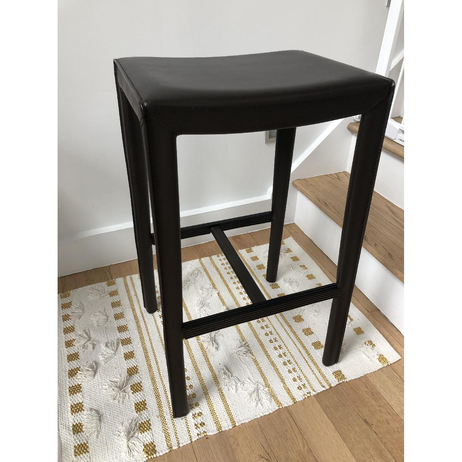 Crate & Barrel Folio Saddle Top-Grain Leather Bar Stools - image-2