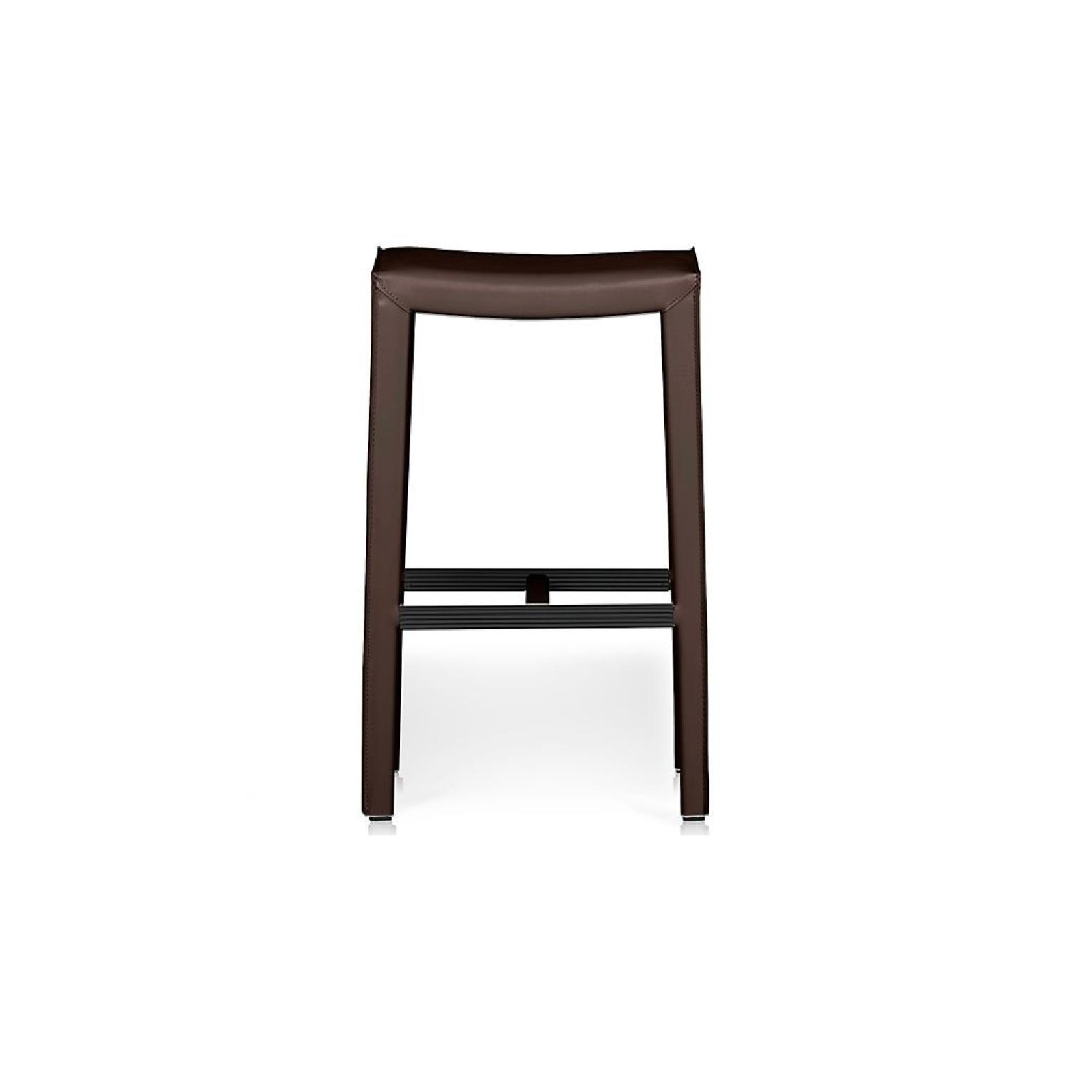 Crate & Barrel Folio Saddle Top-Grain Leather Bar Stools - image-0