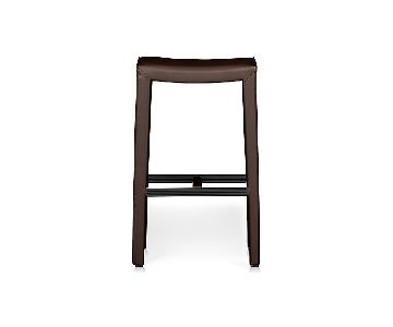 Crate & Barrel Folio Saddle Top-Grain Leather Bar Stools