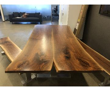 Live Edge Walnut Dining Table w/ 2 Benches