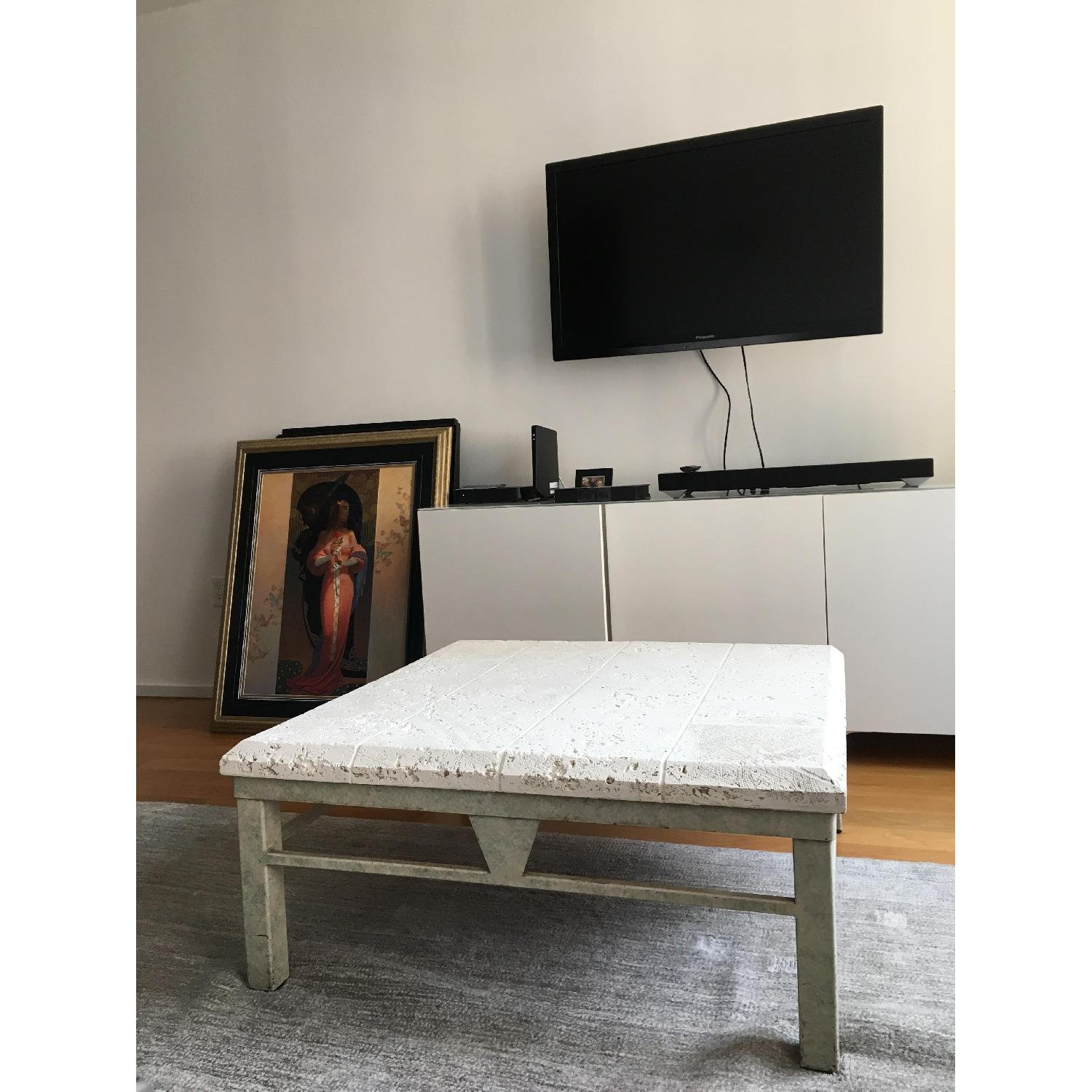 Vintage 80s White Coffee Table - image-1