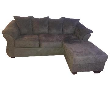 Grey Suede 2-Piece L Shape Sectional Sofa