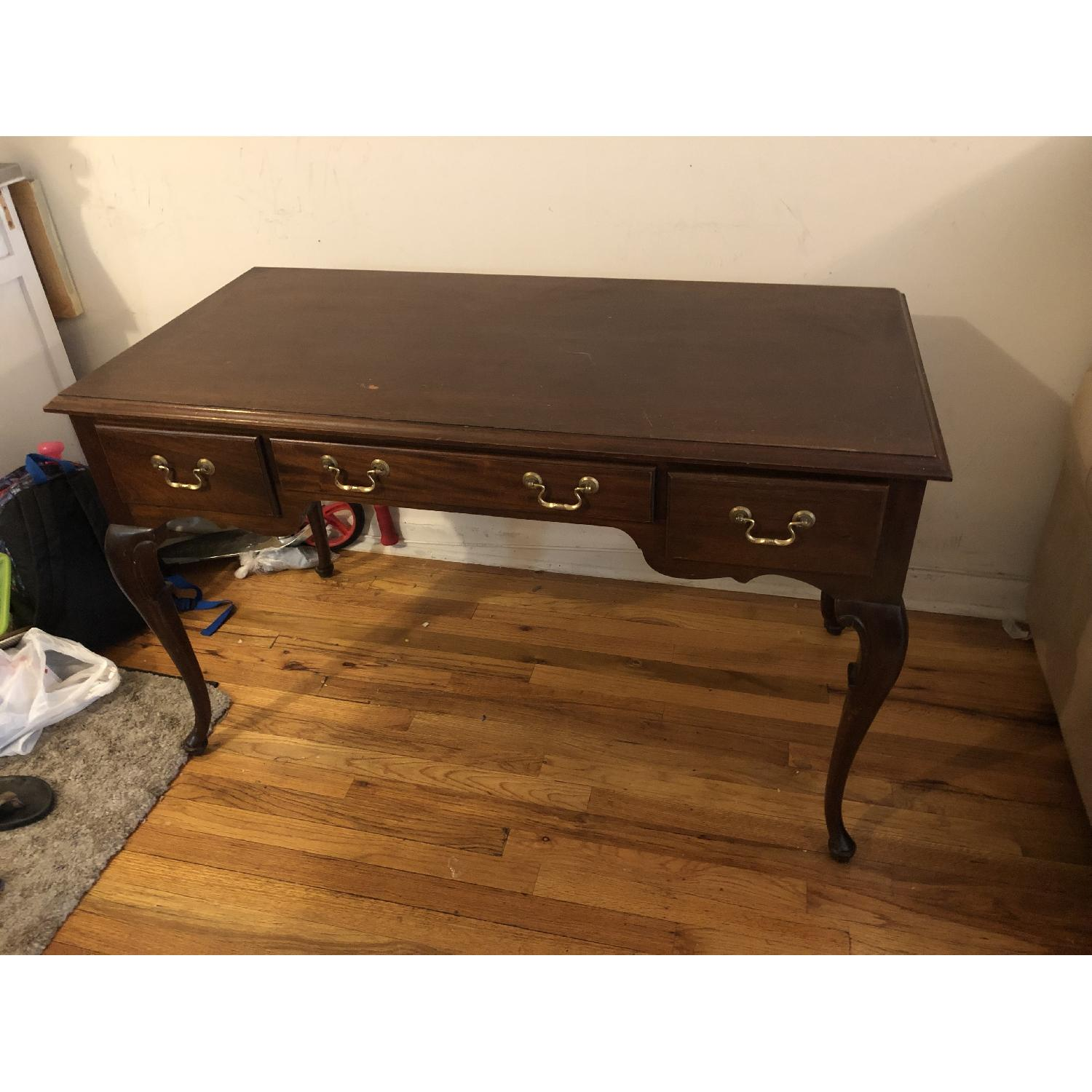 Antique Mahogany Wood Desk - image-1