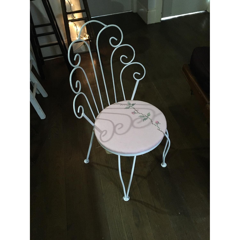 Vintage Ice Cream Parlor White & Pink Vanity Chair - image-1