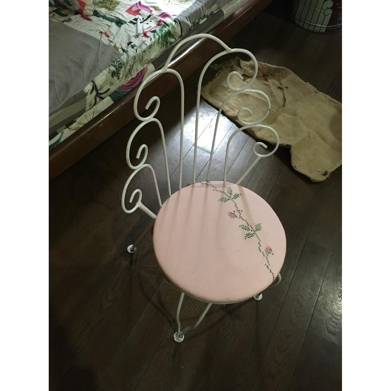 Vintage Ice Cream Parlor White & Pink Vanity Chair - image-2