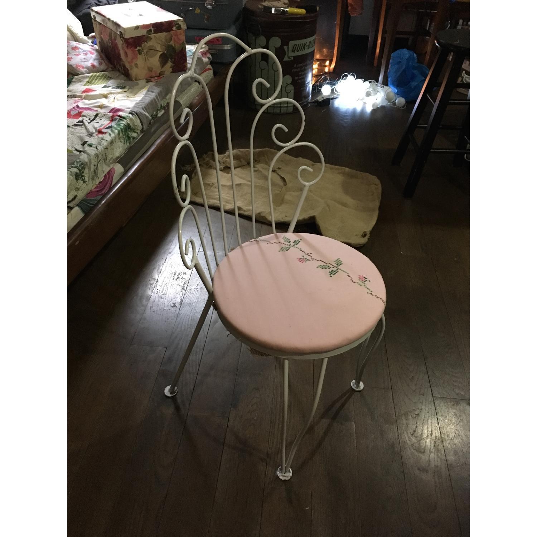 Vintage Ice Cream Parlor White & Pink Vanity Chair - image-4