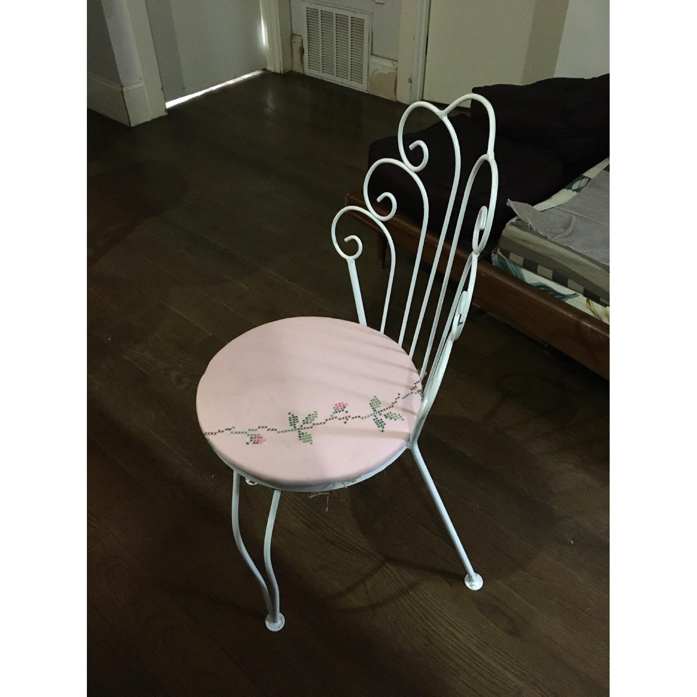 Vintage Ice Cream Parlor White & Pink Vanity Chair - image-5