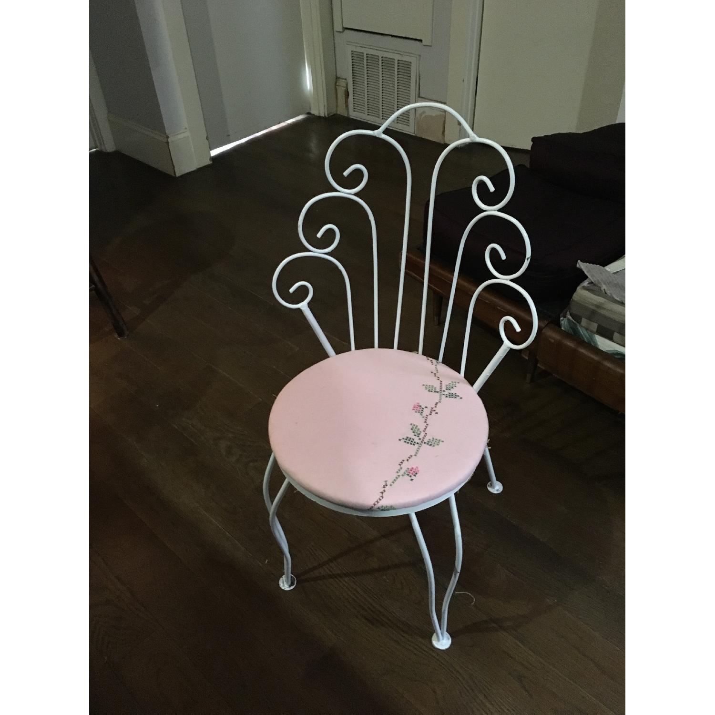 Vintage Ice Cream Parlor White & Pink Vanity Chair - image-7