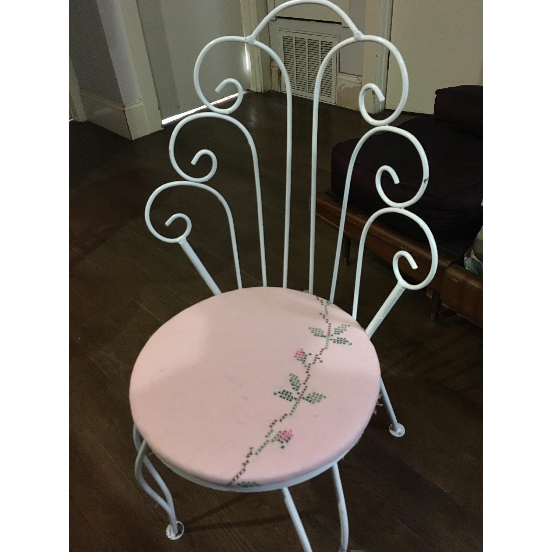 Vintage Ice Cream Parlor White & Pink Vanity Chair - image-8