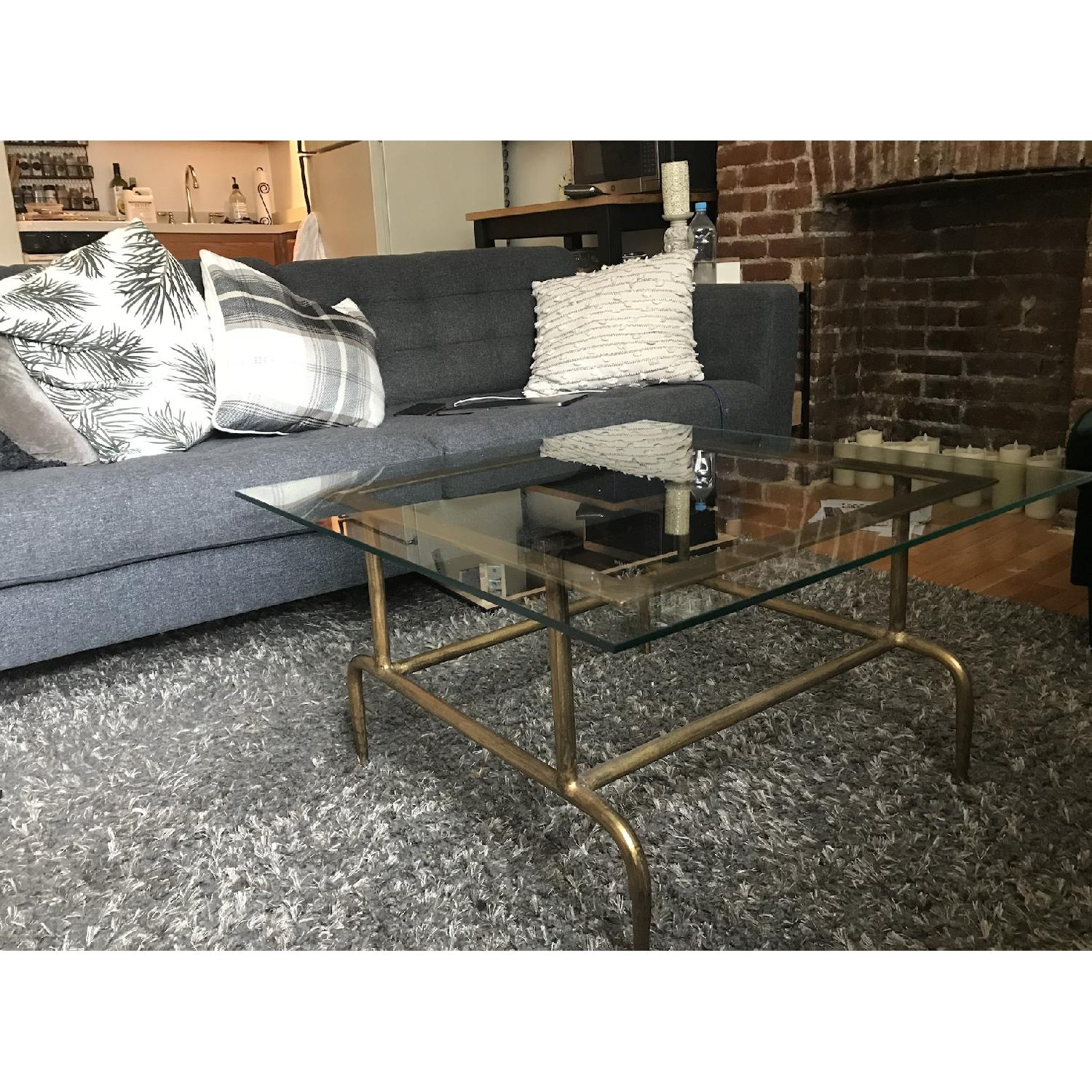 World Market Glass & Metal Square Lorea Coffee Table - image-3