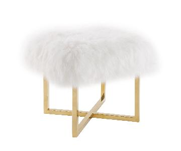 TOV Nomo Gold Stainless Steel & White Sheepskin Bench