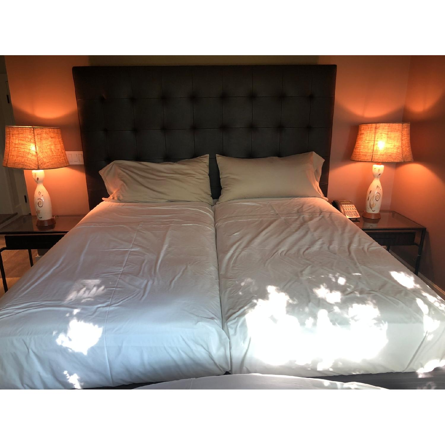 Brown Leather Tufted Queen Size Bed-0