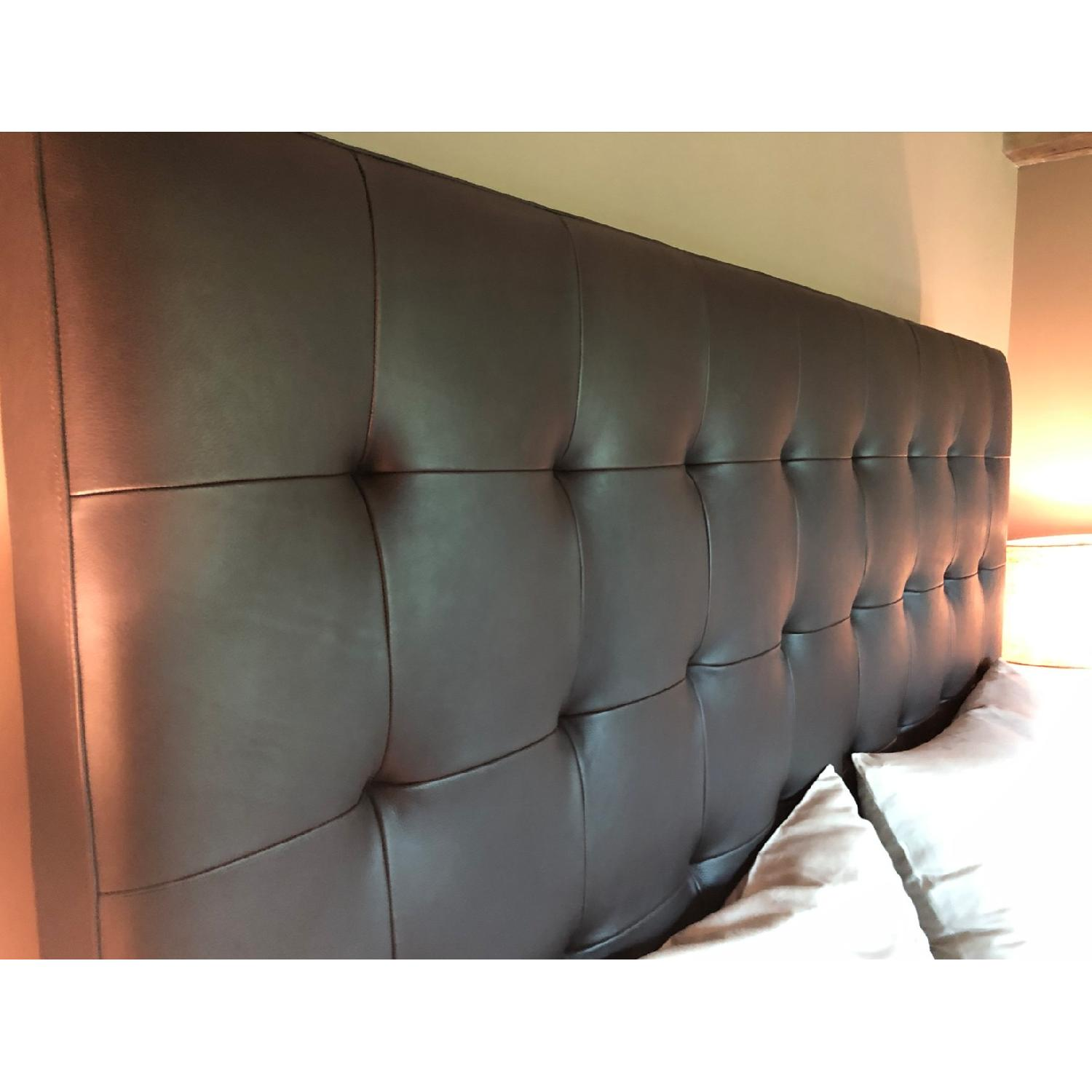Brown Leather Tufted Queen Size Bed-2
