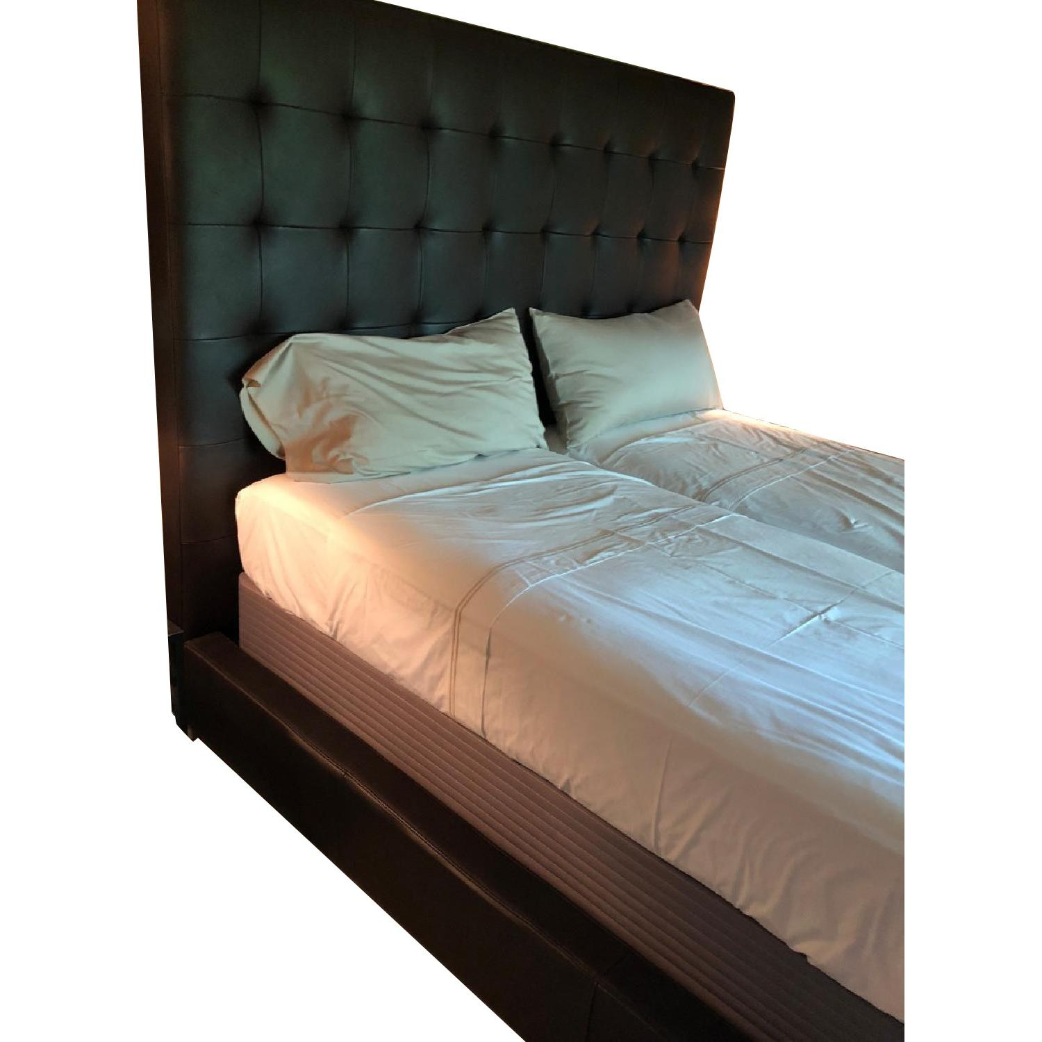 Brown Leather Tufted Queen Size Bed