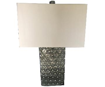 Patterned Silver Table Lamp w/ Fabric Shade